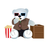 A bear watching movie