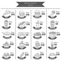 A collection of menu titles and prices