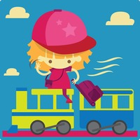A girl going for a holiday riding a train