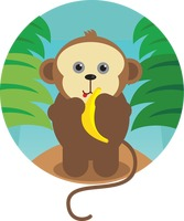 A monkey with banana
