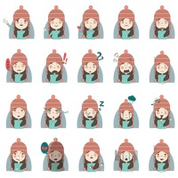 A set of girl emoticon in snow cap showing various facial expressions