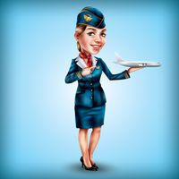 Air hostess holding aeroplane in hand