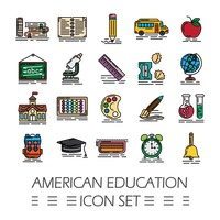 American education icon set