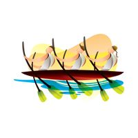 Artistic design of boat rowing participants