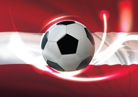 Austria flag with soccer ball