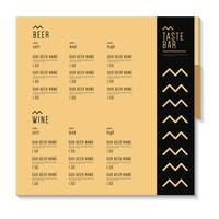 Bar menu card design