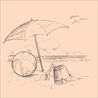 Beach with umbrella and toys