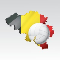Belgium map with volleyball
