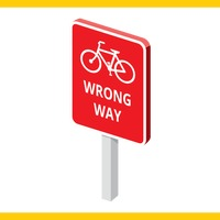 Bicycle wrong way road sign