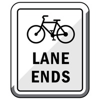 Bike lane ends road sign