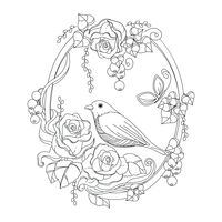Bird in floral frame design