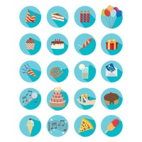 Birthday celebration icons