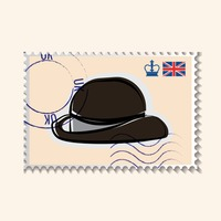 Black hat postage stamp