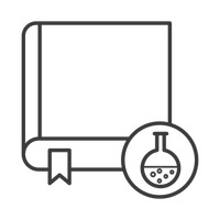 Book with chemical flask icon