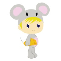 Boy in mouse costume on white background