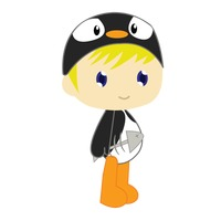 Boy in penguin costume on white background