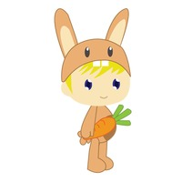Boy in rabbit costume on white background