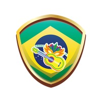 Brazil badge with carnival mask and guitar