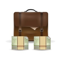 Briefcase and yen bank notes