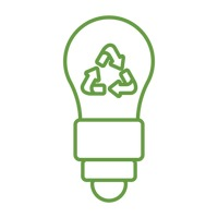 Bulb with recycle symbol