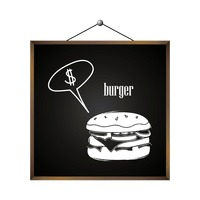 Burger with dollar sign in speech bubble