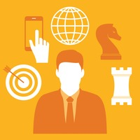 Businessman and business icons