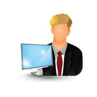 Businessman with monitor
