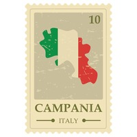 Campania map postage stamp