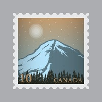 Canada mountains postage stamp
