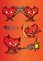 Cartoon devil with a heart shaped body