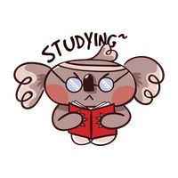 Cartoon koala bear studying