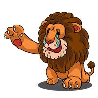 Cartoon lion crying and reaching hands out