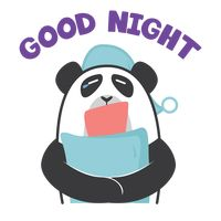 Cartoon panda wishing goodnight
