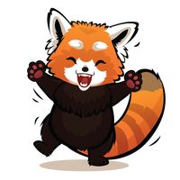 Cartoon red panda feeling happy
