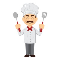 Chef holding spoons and spatula