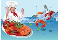 Chef with seafood