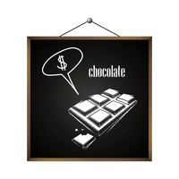 Chocolate with dollar sign in speech bubble