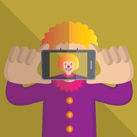 Clown taking a photo of himself
