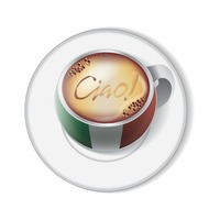 Coffee cup with italy flag decoration