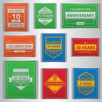 Collection of anniversary labels