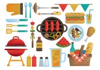 Collection of barbecue items