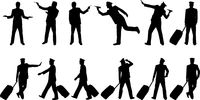 Collection of businessmen and pilot silhouettes