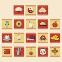 Collection of chinese icons