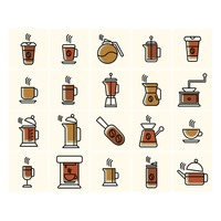 Collection of coffee related icons