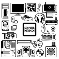 Collection of computer components and peripherals