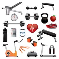 Collection of gym equipment