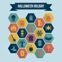 Collection of halloween holiday icons