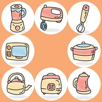 Collection of home appliances icons