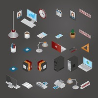 Collection of isometric icons
