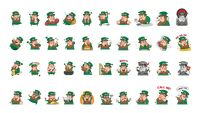 Collection of leprechaun facial expressions